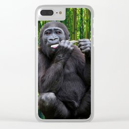 Funny Gorilla Cannabis Spliff Joint Wildlife Animals Clear iPhone Case