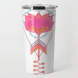 Sacred Lotus:  Pink lotus with geometric symbols on white Travel Mug