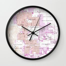Vintage Map of Palm Springs California (1957) 2 Wall Clock