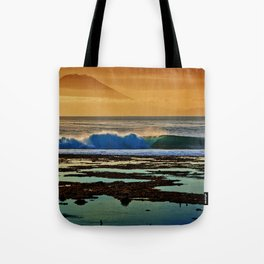 Indonesian Wave and Volcano Tote Bag
