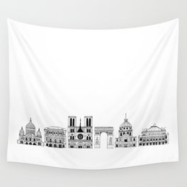 Paris architecture illustration Wall Tapestry