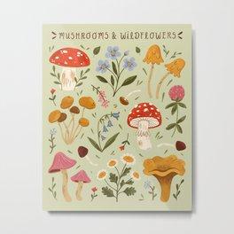 Mushrooms and Wildflowers Metal Print
