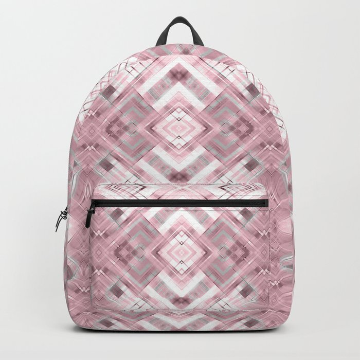 White pink geometric pattern . Backpack
