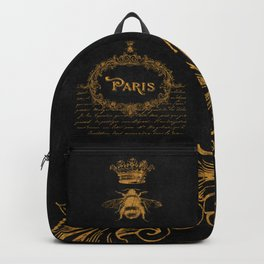Paris In Gold French Typography Art Backpack