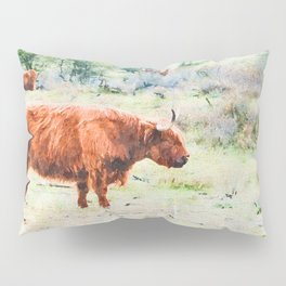 Highland cow watercolor painting #5 Pillow Sham