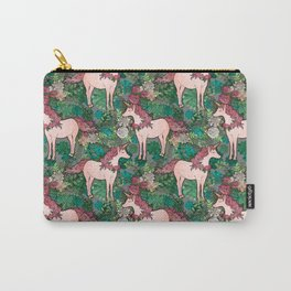 Rose Gold Unicorn in a Garden Carry-All Pouch
