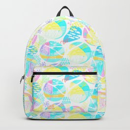 Abstract geometrical pink teal aqua yellow pattern Backpack