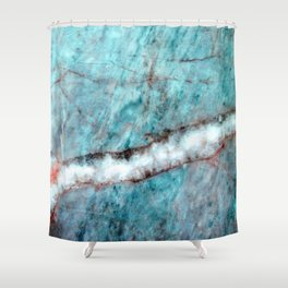 Pastel Aqua Blue Marble With White-Cream Streak Shower Curtain