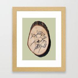 Devil Ray Wood Slice Framed Art Print