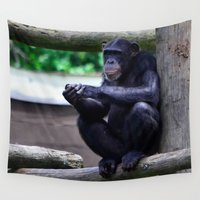 ape Wall Tapestries featuring Thinking Ape by 100 Watt Photography