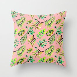 Watercolor Leaves pattern - pink background Throw Pillow
