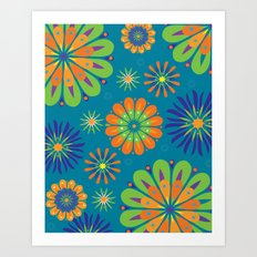 Psycho Flower Blue Art Print