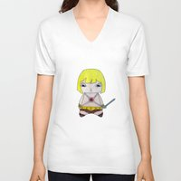 he man V-neck T-shirts featuring A Boy - He-Man by Christophe Chiozzi