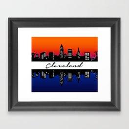 Cleveland Skyline color Framed Art Print