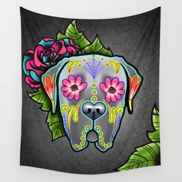 Mastiff in Grey - Day of the Dead Sugar Skull Dog Wall Tapestry