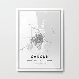 Cancún Modern Map Metal Print
