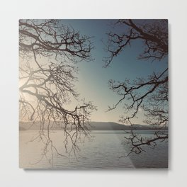 Sunset Beach Westcoast Branches Silouette Metal Print