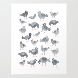Pigeon Pattern Art Print