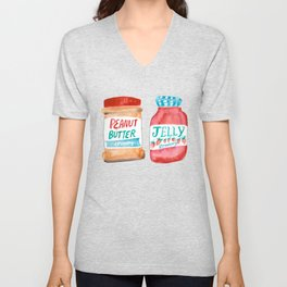 Peanut Butter & Jelly Watercolor Unisex V-Neck