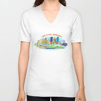cities V-neck T-shirts featuring Twin Cities by Jane Gardner