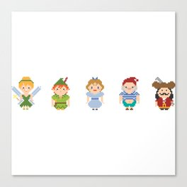 Peter Pan All Pixel Characters Canvas Print