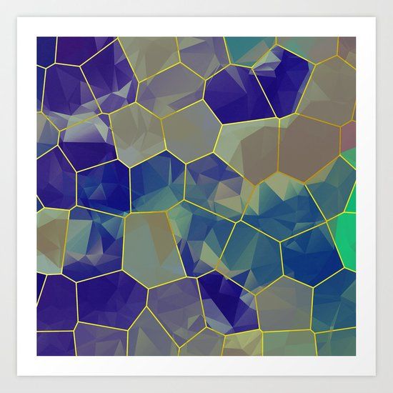 Stained Glass Polygons Art Print