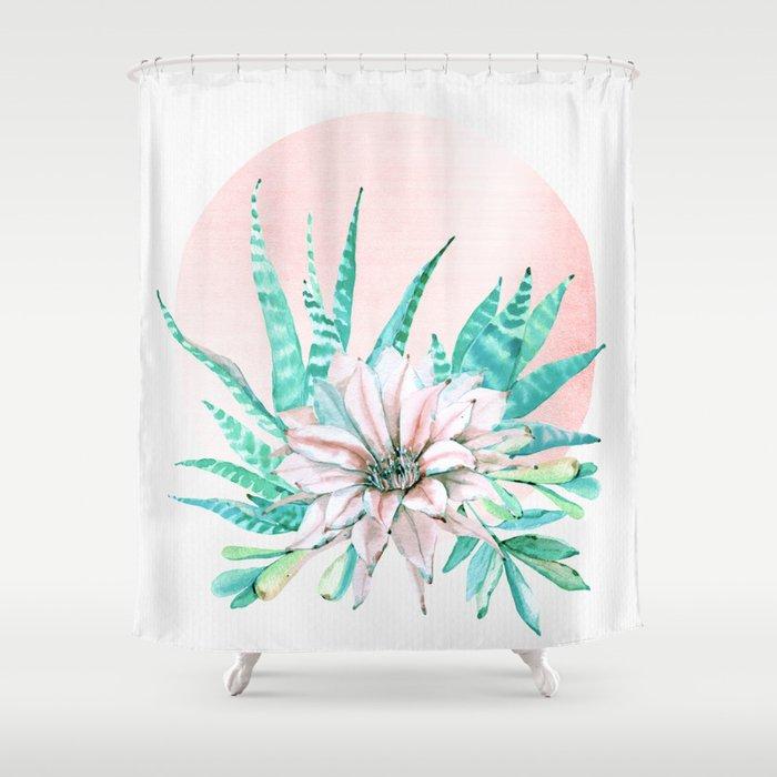 Desert Cactus Succulent Shower Curtain
