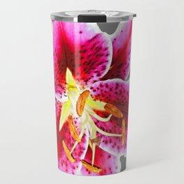 GREY FUCHSIA PINK ASIATIC LILY FLOWER  ABSTRACT ART Travel Mug
