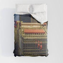 Shopping carts outside a supermarket Comforters