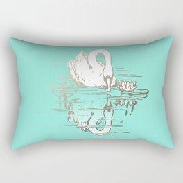 Beautiful Swan Reflection - Riptide Aqua Rectangular Pillow