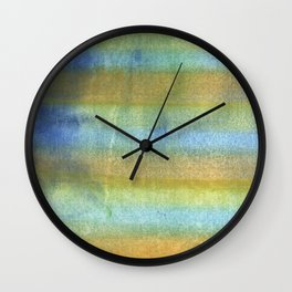 Yellow blue abstract rainbow painting Wall Clock