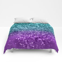 Purple Teal MERMAID Girls Glitter #1 #shiny #decor #art #society6 Comforters