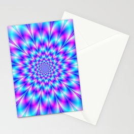 Neon Rosette in Blue and Pink Stationery Cards