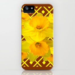 Coffee Brown Pattern of Golden Daffodils Art iPhone Case