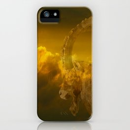 Alpine - Ibex with cloudy sunset background - #Society6 #buyart iPhone Case