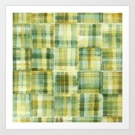 Green Watercolour Check Art Print