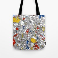 berlin Tote Bags featuring Berlin  by Mondrian Maps