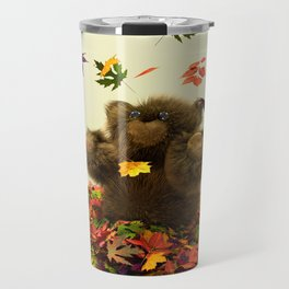 Playing in Autumn Leaves Travel Mug