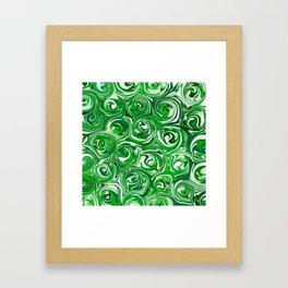 Emerald Green, Green Apple, and White Paint Swirls Framed Art Print