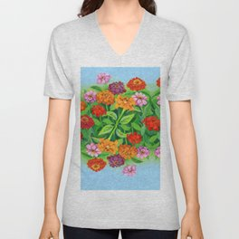 Marigolds in Oil Unisex V-Neck