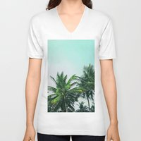 palm trees V-neck T-shirts featuring Palm Trees by Sweet Karalina