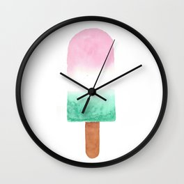 Pink White Green POPsicle Wall Clock