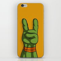 ninja turtle iPhone & iPod Skins featuring Teenage Mutant Ninja Turtle Hand by MONDOBITGO