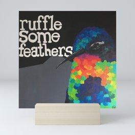 Hummingbird Ruffle Some Feathers Rainbow Acrylic Painting by Imaginarium Arts Mini Art Print