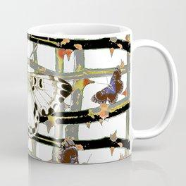 #2 PURPLE-WHITE MOTHS  ON BLACKTHORN LATTICE BRANCHES ART Coffee Mug
