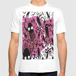octopus Colorful Cartoon Octopuses Pattern black pink T-shirt