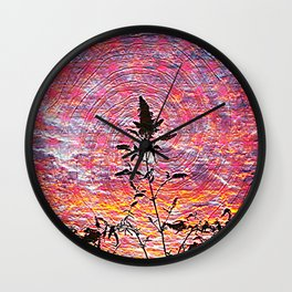 Leaf shadow at sunset Wall Clock