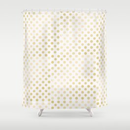 Vintage rustic faux gold white elegant polka dots pattern Shower Curtain