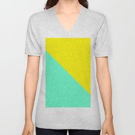 Modern bright lemon and mint color block Unisex V-Neck