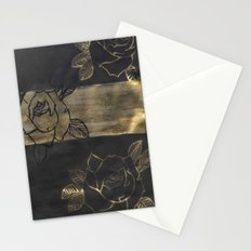 Feminine, Grung Print. Black and Gold Roses. Stationery Cards
